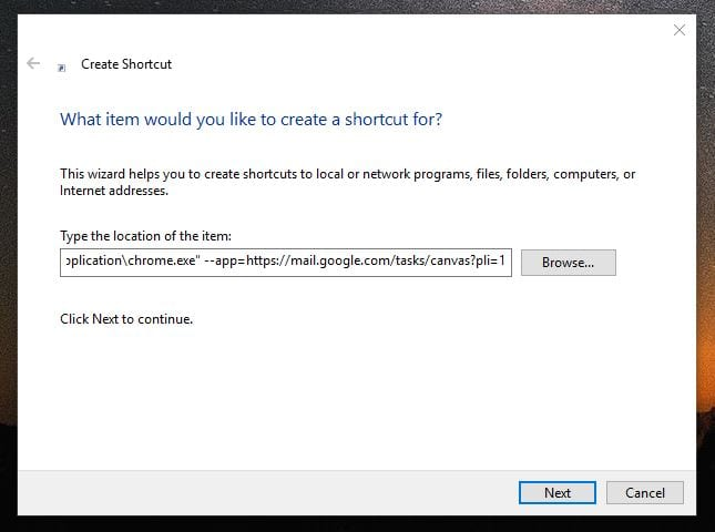Google Tasks desktop shortcut creation