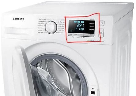 Samsung EcoBubble washing machine LED display with metal touch buttons