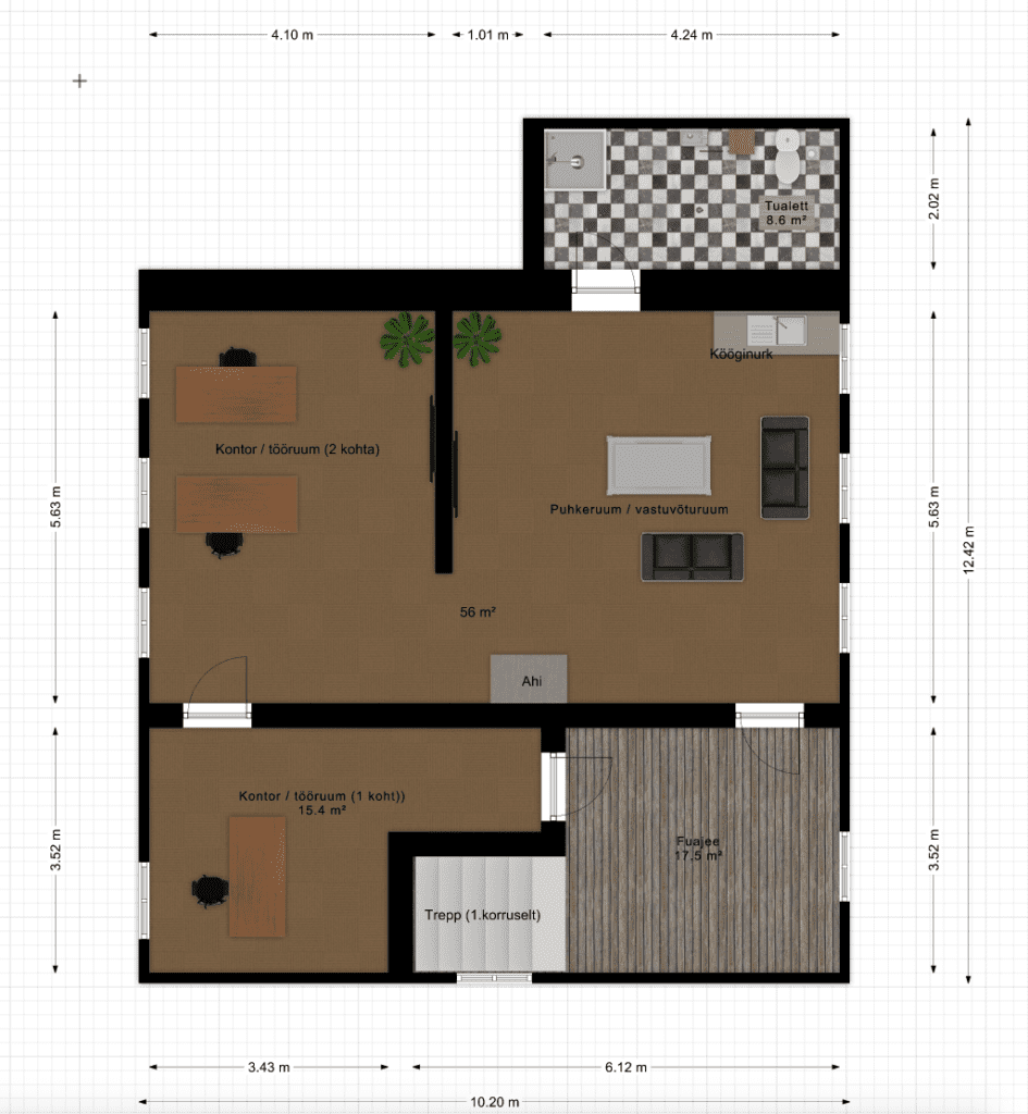 The office plan on the 2nd floor